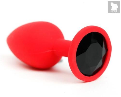 Красная силиконовая анальная пробка с черным стразом - 6,8 см., цвет черный - Vandersex