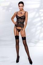 Очаровательный корсет Leticia с подвязками для чулок, цвет черный, S-M - Passion