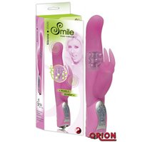 Розовый вибратор Smile Pearl Bunny с загнутой головкой и клиторальным зайчиком - 26 см - ORION