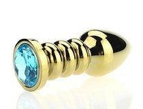 Золотистая фигурная анальная пробка с голубым стразом - 10,3 см - 4sexdreaM