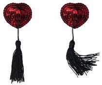 Красные пэстисы-сердечки Gipsy с черными кисточками, цвет красный/черный - Lola Lingerie