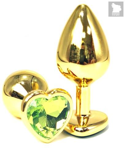 Золотистая анальная пробка с лаймовым кристаллом-сердцем - 6 см., цвет лайм - Vandersex