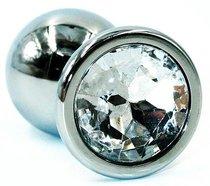 Серебристая коническая анальная пробка с прозрачным кристаллом - 8 см., цвет прозрачный - Kanikule