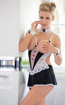 Униформа лучшей служанки: сорочка с открытой грудью и повязки, цвет белый/черный, M-L - SoftLine Collection (SLC)