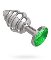 Серебристая пробка с рёбрышками и зеленым кристаллом - 7 см, цвет зеленый/серебряный - МиФ
