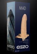 Полый фаллоимитатор MAD на регулируемых ремешках - 15,5 см., цвет телесный - Egzo