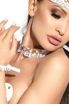 Чокер на шею Arabesque с металлическими деталями, цвет белый - Me Seduce