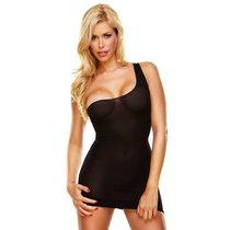 Облегающее полупрозрачное платье на одной лямке, цвет черный, размер S-L - Hustler Lingerie