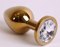 Анальная пробка золото со вставкой белый страз 9,5х4см 47005-2MM - Eroticon