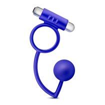 Синее эрекционное кольцо Penetrator Anal Ball with Vibrating Cock Ring, цвет синий - Blush Novelties