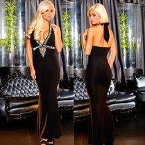 """Вечернее платье Hustler """"в пол"""" с глубоким декольте, цвет черный, S-M - Hustler Lingerie"""