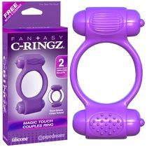 Эрекционное кольцо Magic Touch Couples Ring с 2-мя виброэлементами, цвет фиолетовый - Pipedream