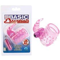 Розовое эрекционное кольцо с вибростимулятором клитора BASIC ESSENTIAL, цвет розовый - California Exotic Novelties