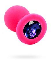 Розовая силиконовая анальная пробка с темно-фиолетовым кристаллом - 7 см., цвет розовый/темно-фиолетовый - Kanikule