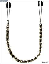 Зажимы для груди с цепочкой и чёрными жемчужинами, 20 г, P3279M - Penthouse