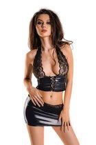 Чарующий комплект Gigi из материала с мокрым блеском, цвет черный, M - Erolanta