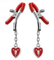 Зажимы на соски с подвесками-замок сердечко Master Series Captive Heart Padlock Nipple Clamp, цвет красный - XR Brands