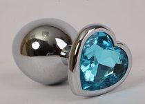 Анальная пробка сердечком с голубым стразом S 8х3,5см 47141-1-MM - Eroticon