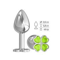 Анальная втулка малая Silver клевер с салатовым кристаллом, цвет серебряный - МиФ
