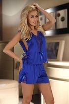 Игривый комплект Mellissa: топ и шорты с кружевом, цвет синий, S-M - Beauty Night