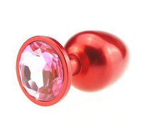 Анальная пробка с розовым стразом - 8,2 см, цвет красный - 4sexdreaM