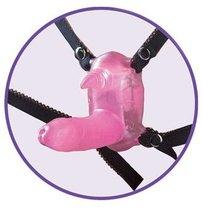 Розовый вибростимулятор в виде рога носорога на регулируемых трусиках и с пультом ДУ, цвет розовый - Nanma (NMC)