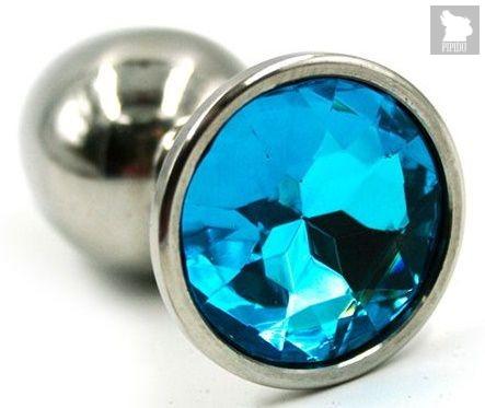 Серебристая гладкая анальная пробка с голубым кристаллом - 7 см., цвет голубой - Kanikule