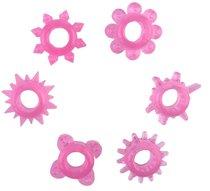 Набор из 6 розовых эрекционных колец, цвет розовый - Toyfa