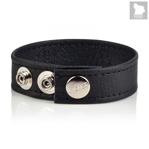 Утяжка для члена Colt - Leather C/B Strap Adjustable 3-Snap, цвет черный - California Exotic Novelties