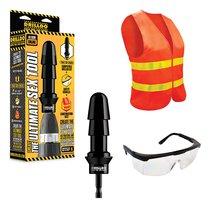 Комплект для секс-дрели DRILLDO - бит-адаптер, очки, жилет - Drilldo