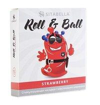 Стимулирующий презерватив-насадка Roll & Ball Strawberry, цвет красный - Sitabella (СК-Визит)