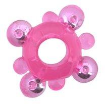 Эрекционное кольцо c бусинками, цвет розовый - Toyfa