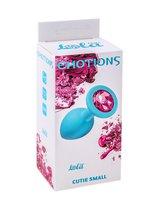 Малая голубая анальная пробка Emotions Cutie Small с розовым кристаллом - 7,5 см, цвет голубой - Lola Toys