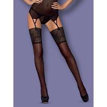 Чулки с широким цветочным кружевом Intensa Stockings, цвет черный, размер S-M - Obsessive
