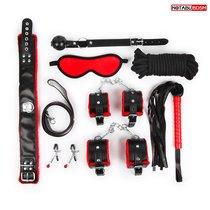 Стильный черно-красный набор БДСМ: маска, кляп, зажимы, плётка, ошейник, наручники, оковы, верёвка, цвет красный/черный - Bioritm