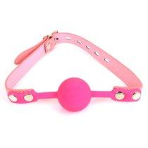 Розовый силиконовый шар-кляп на регулируемом ремешке, цвет розовый - Bioritm
