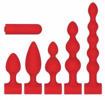 Красный анальный вибронабор USB-Rechargeable Anal Set, цвет красный - Shots Media