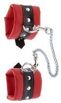 Красно-чёрные наручники на металлической цепочке, цвет красный/черный - Blush Novelties