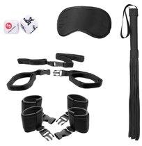 Черный игровой набор БДСМ Bed Post Bindings Restraing Kit, цвет черный - Shots Media