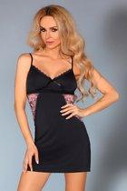 Сорочка Grace с ажурными вставками под лифом, цвет черный, размер S-M - Livia Corsetti