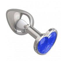 Серебристая анальная пробка с синим кристаллом-сердцем - 7 см, цвет серебряный/синий - МиФ