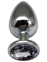 Серебристая анальная пробка с прозрачным кристаллом - 9 см., цвет прозрачный - Eroticon