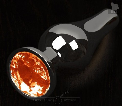 Графитовая удлиненная анальная пробка с оранжевым кристаллом - 8,5 см., цвет оранжевый - Пикантные штучки