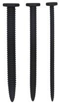 Набор из 3 черных стимуляторов уретры Silicone Screw Plug Set, цвет черный - Shots Media