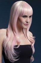 Парик цвета блонд с розовыми прядями, цвет розовый - Fever