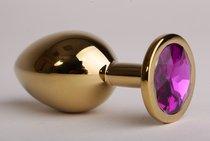 Анальная пробка золотая с фиолетовым кристаллом 3,4х8,2 47058-1-MM - Eroticon
