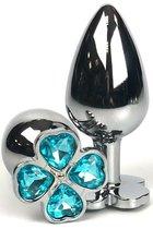 Серебристая анальная втулка с клевером из голубых кристаллов - 9 см., цвет голубой - Vandersex