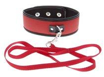 Красно-чёрный ошейник из полиуретана с поводком Collar and Leash, цвет красный - Blush Novelties