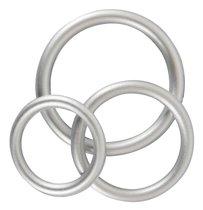 Набор из 3 эрекционных колец под металл Metallic Silicone Cock Ring Set - ORION