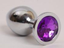 Анальная пробка серебряная с фиолетовым кристаллом L 9,5х4см 47020-2-MM - Eroticon